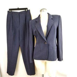 Carlisle Size 8 10 Purple Black Pant Suit Wool
